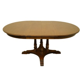 "20th Century Early American Tell City Colonial Style 47"" Round Pedestal Dining Table For Sale"