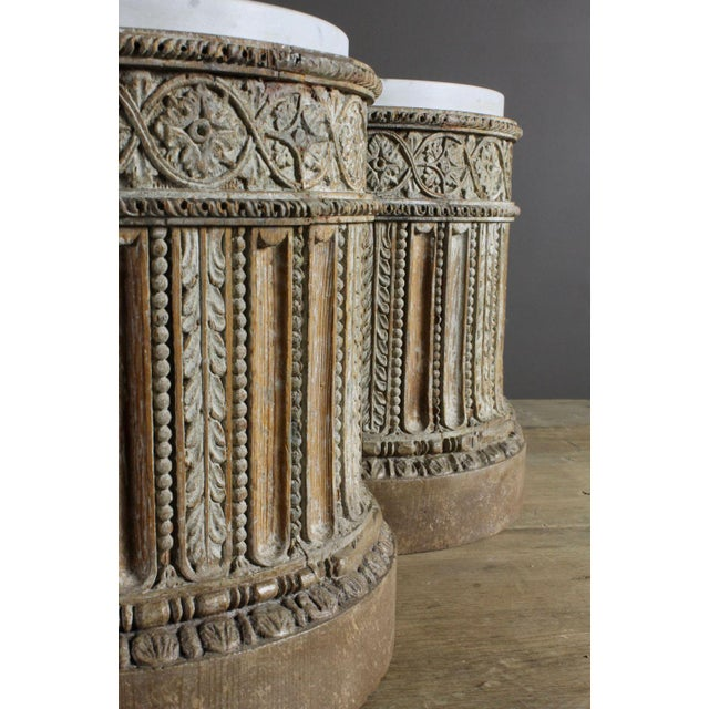 Pair of 18th Century English Table Pedestals with Marble Tops For Sale - Image 4 of 6