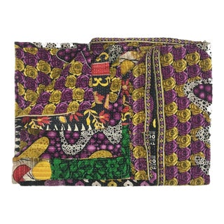 Purple and Yellow Roses Vintage Kantha Quilt For Sale