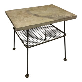 Russell Woodard Slate and Metal Side Table For Sale