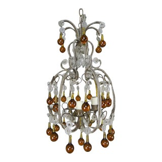 French Crystal Beaded Chandelier w/ Amber Drops For Sale