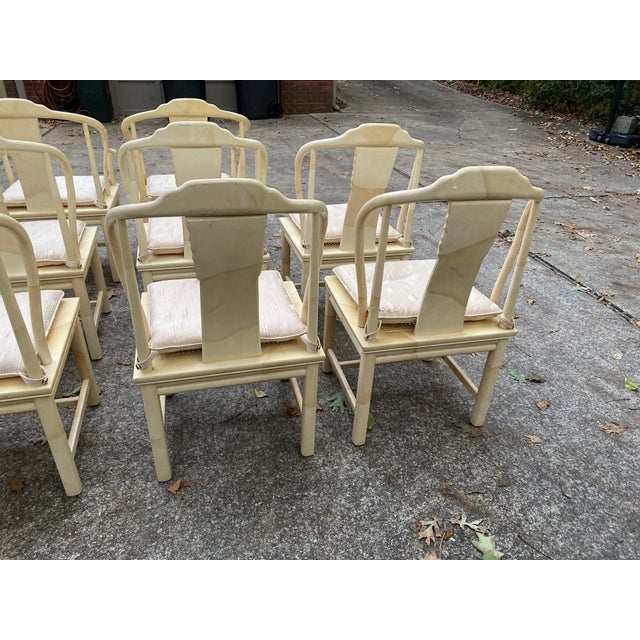 1970s Vintage Henredon Asian Faux Goatskin Dining Chairs - Set of 10 For Sale - Image 5 of 12