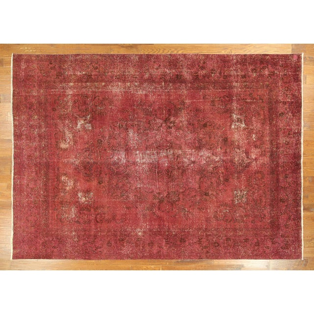 Persian Overdyed Rose Red Tabriz Rug 10' x 13' - Image 2 of 8