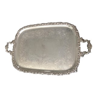 Mid-Century Webster Ornate Silver Plate Footed Waiter Serving Tray For Sale