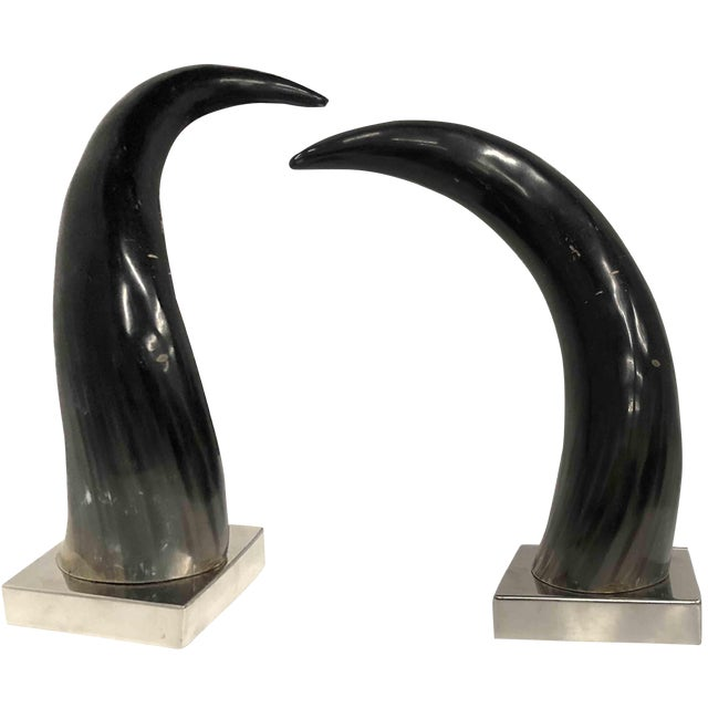 Contemporary Mounted Horns on Silver Chrome Bases - a Pair For Sale