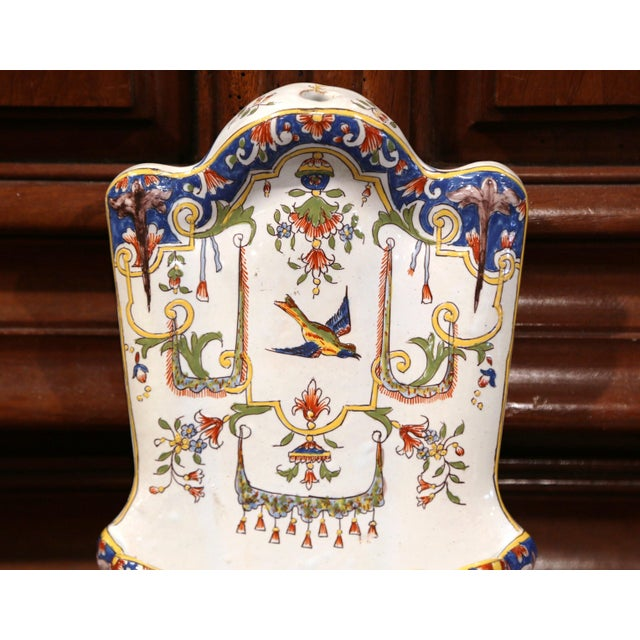 French 19th Century French Hand Painted Wall Hanging Flower Holder from Rouen For Sale - Image 3 of 9