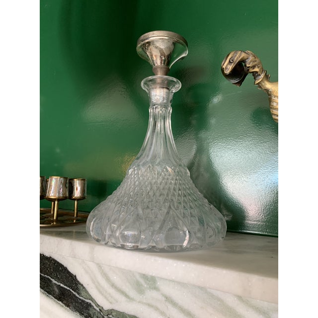 Vintage Hand Cut Crystal Decanter For Sale - Image 4 of 5