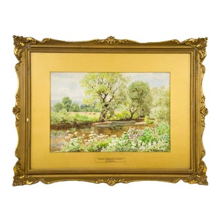 """""""Foxglove, Meadowsweet, and Hemlock"""" on the Teign Watercolor Painting by W. S. Moorish For Sale"""