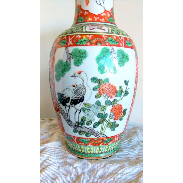 Vintage Hand Painted Asian Peacock Motif Vase - Image 4 of 8