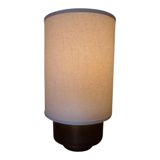 Modern Brass Table Lamp with Linen Shade For Sale