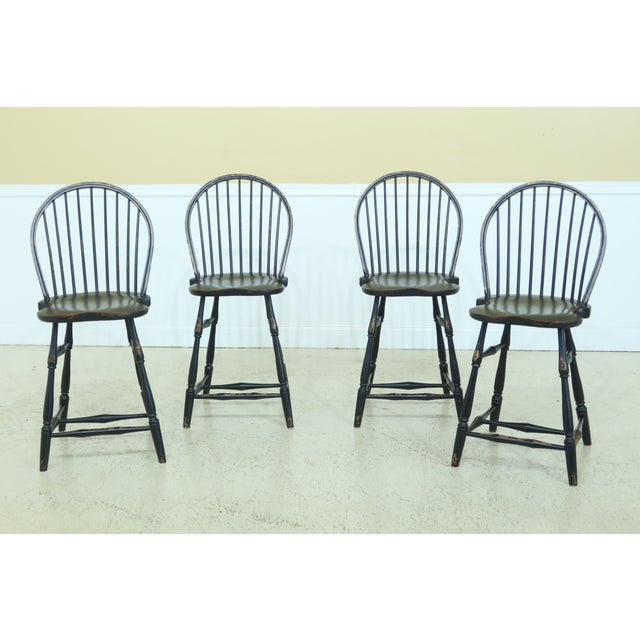 Windsor Style Paint Decorated Rustic Bar Counter Chairs - Set of 4 For Sale - Image 13 of 13