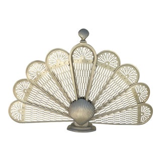 1950s Vintage Brass Sea Shell Fireplace Screen For Sale