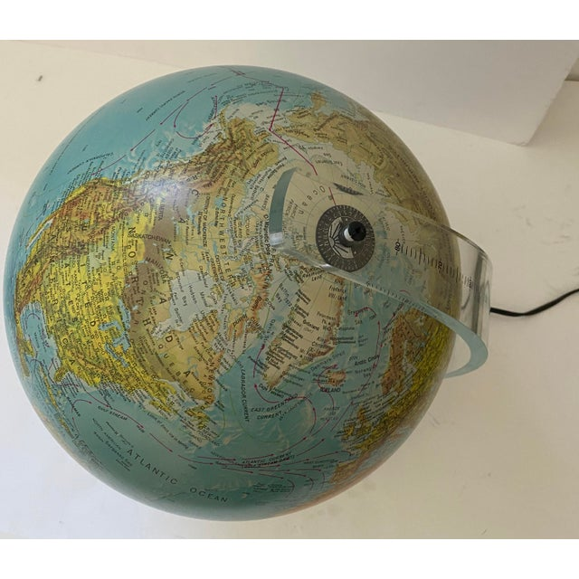 Blue Lucite Holder and Vintage 1987 Illuminated World Globe For Sale - Image 8 of 11