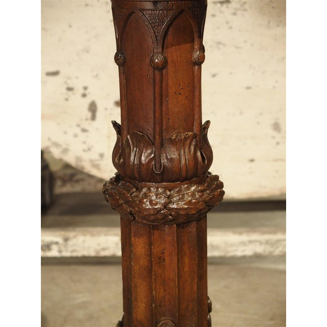 Gothic Antique Circular Genoese Carved Wood and Marble Table, Circa 1820 For Sale - Image 3 of 13
