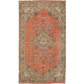 1990s Boho Chic Turkish Rustic Soft Orange & Taupe Handmade Wool Rug - 5′ × 9