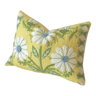 Swedish Schumacher Yellow Embroidered Pillow Cover For Sale