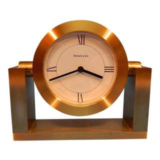 Tiffany & Co Brass Art Deco Desk Clock For Sale