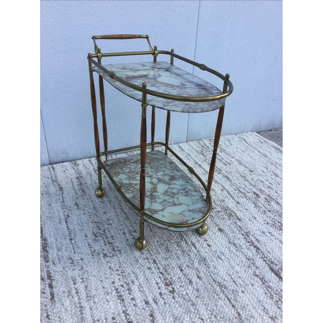 1950s Italian Brass & Walnut Bar Cart - Image 4 of 11