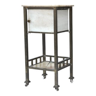Antique Medical Marble Metal Rolling Cart For Sale