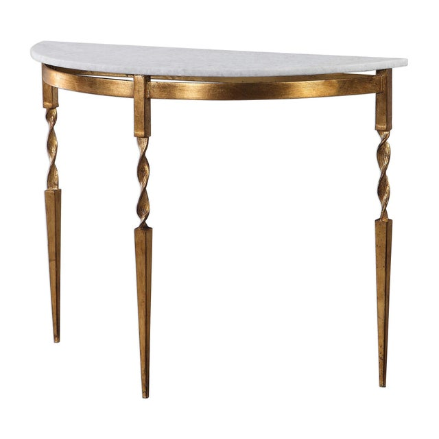 Marble Demilune Console Table For Sale In Sacramento - Image 6 of 6