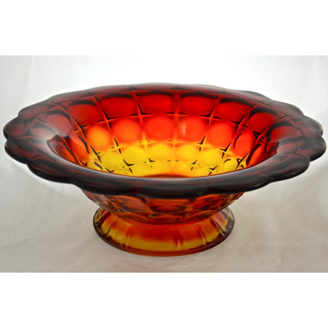 Mid 20th Century Amberina Petal Rim Centerpiece Bowl For Sale - Image 5 of 5