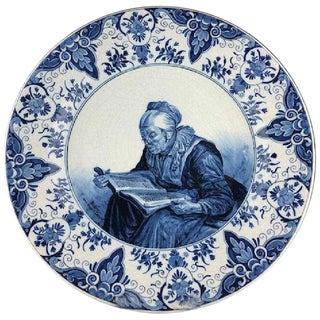Antique Delft Porcelain Charger, Holland For Sale