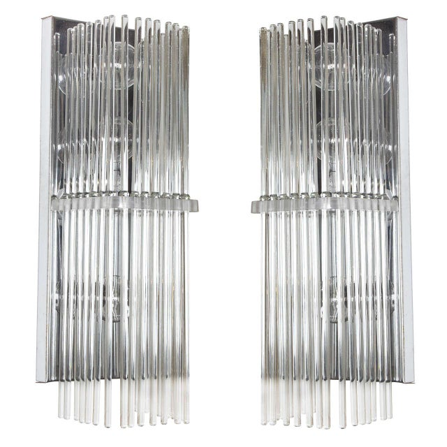 Transparent Pair of Crystal Rod Sconces by Lightolier For Sale - Image 8 of 8