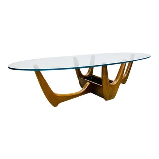 Mid Century Modern Kroehler Oval Glass Coffee Table With Organic Walnut Base and Planter For Sale