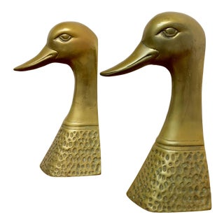 1970s Vintage Brass Duck Bookends - a Pair For Sale