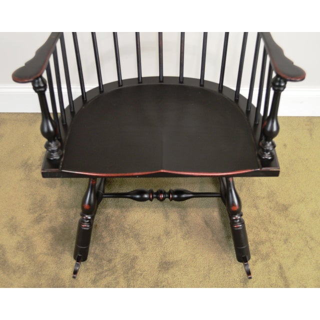 Black Custom Crafted Distressed Black Painted Windsor Rocker Rocking Chair For Sale - Image 8 of 13