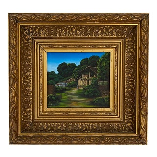 Late 20th Century House and Landscape Painting by Manuel Perez, Framed For Sale