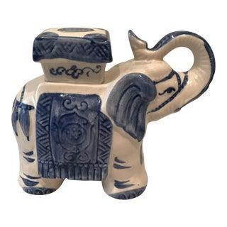 Blue & White Trunk-Up Elephant Figurine