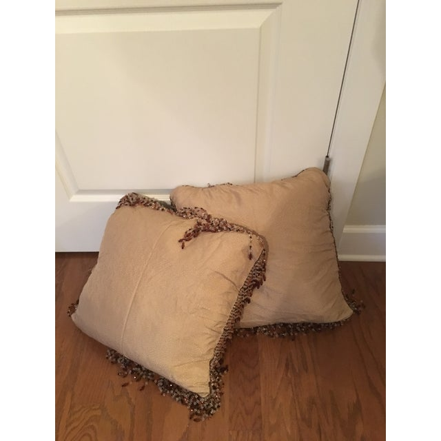Vintage Silk Needle Point Fabric Pillows - A Pair - Image 4 of 8