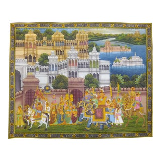 Udaipur City Palace Painting on Silk For Sale