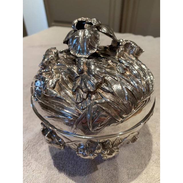 Antique Japanese Meiji Period Solid Silver Bowl With Lid For Sale - Image 4 of 9
