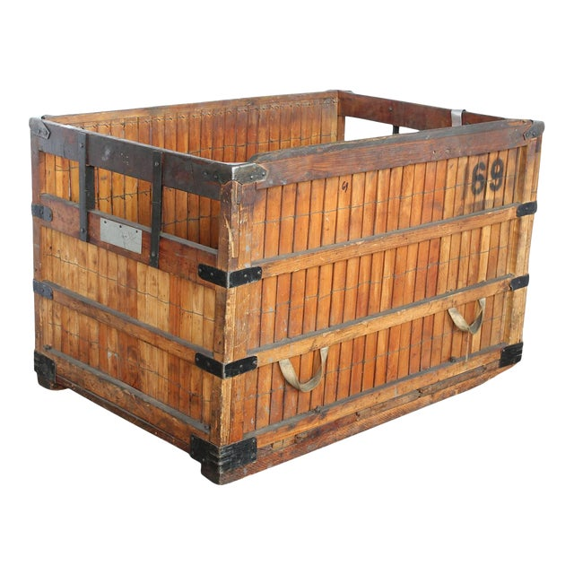 Antique american industrial wood crate chairish Where can i buy reclaimed wood near me