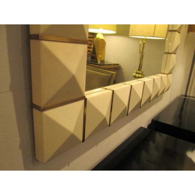 Custom Geometric Parchment Mirror With Inlaid Brass For Sale - Image 4 of 7