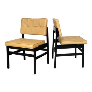 Pair Hibriten Blackened Wood and Faux Leather Mid Century Modern Chairs For Sale