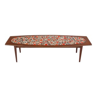 Vintage Mid Century Oval Mosaic Tile Top Rectangular Boat Shape Walnut Long Coffee Table For Sale