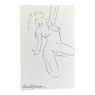 Nude Sitting Artist Sketch Original