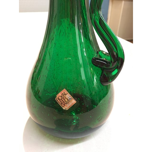 Royal Leerdam Emerald Green Art Glass Pitcher For Sale - Image 4 of 7