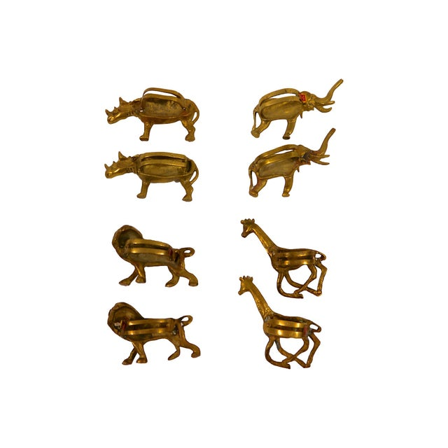 Solid Brass Animal Napkin Rings - Set of 8 For Sale - Image 4 of 6