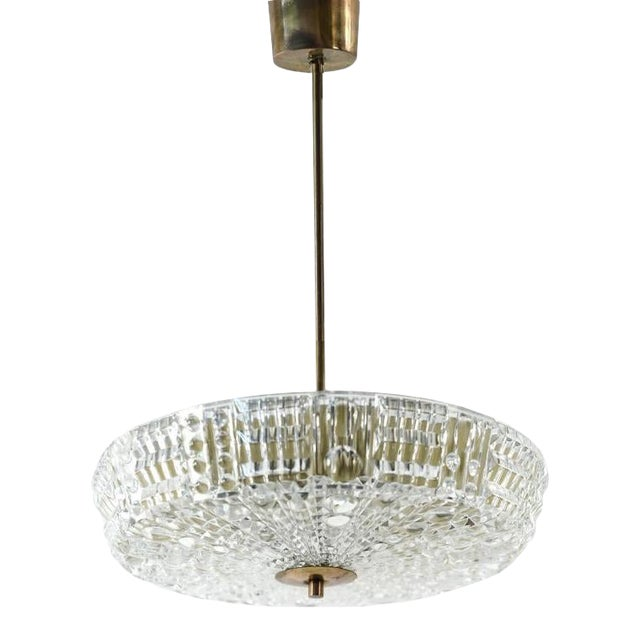 Mid Century Modern Carl Fagerlund for Orrefors Glass and Brass Pendant Light For Sale