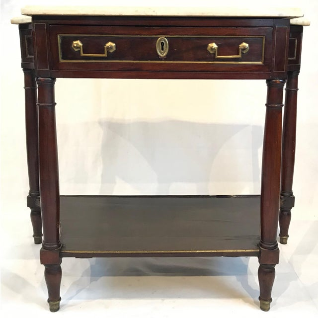 White Mid 19th Century French Louis XVI Style Marble Top and Mahogany Console Table For Sale - Image 8 of 8