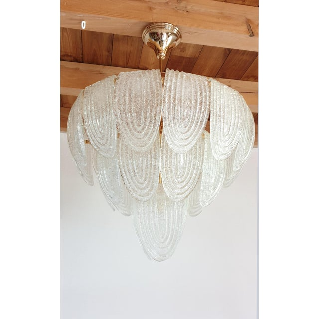 Art Deco Mid-Century Modern Murano Glass and Plated Gold Chandelier by Mazzega For Sale - Image 3 of 10