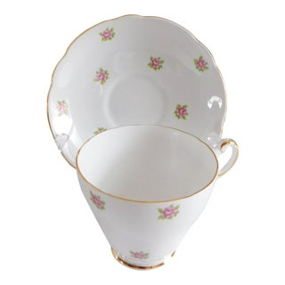 Regency Porcelain Rosebud Tea Cup and Saucer Made in England For Sale