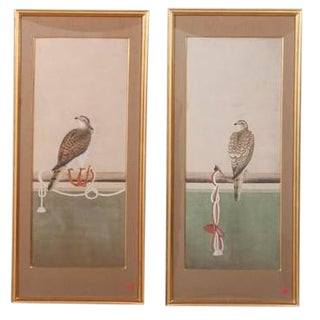 Japanese Watercolor Paintings Depicting Various Stages of Falconry - a Pair For Sale