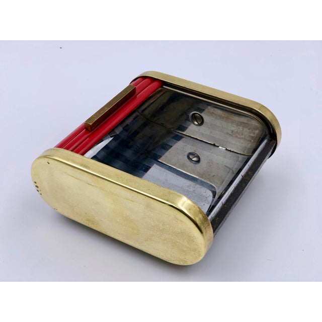 Art Deco Tambour Top Desk Caddy of Red Bakelite and Brass by Park Sherman For Sale - Image 9 of 11
