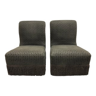 Baker Chenille Slipper Chairs - a Pair For Sale