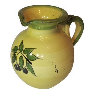 1990s French Country Bleau D'Argile Hand-Painted Yellow and Olive Pottery Jug